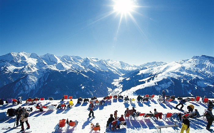 Sunbathing in the Alps - Alpine Winter Vacation Views:4445