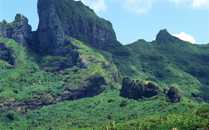 Tahiti green covered mountains wallpaper Views:8283