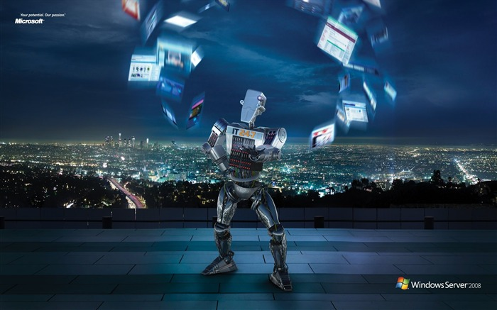 Windows Server 2008 IT 24-7 Robot Advertising Wallpapers Views:10096
