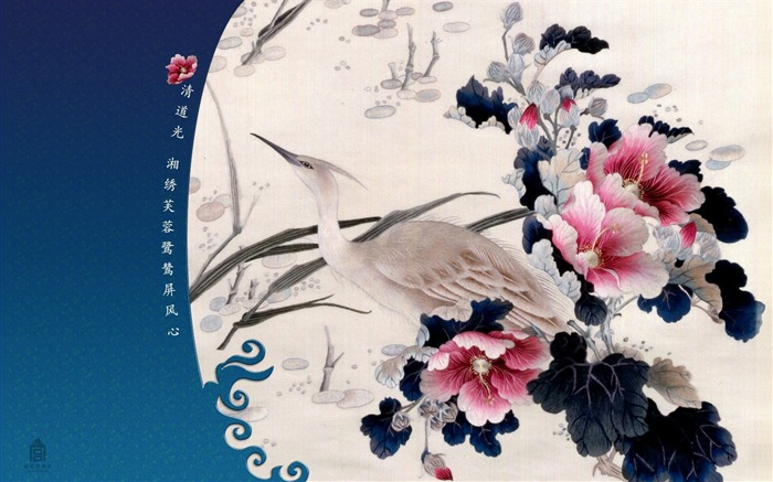 Egrets screen heart wallpaper Hibiscus Embroidery Views:7073