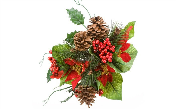 Picture- Christmas decoration with holly and pine cones Views:52438