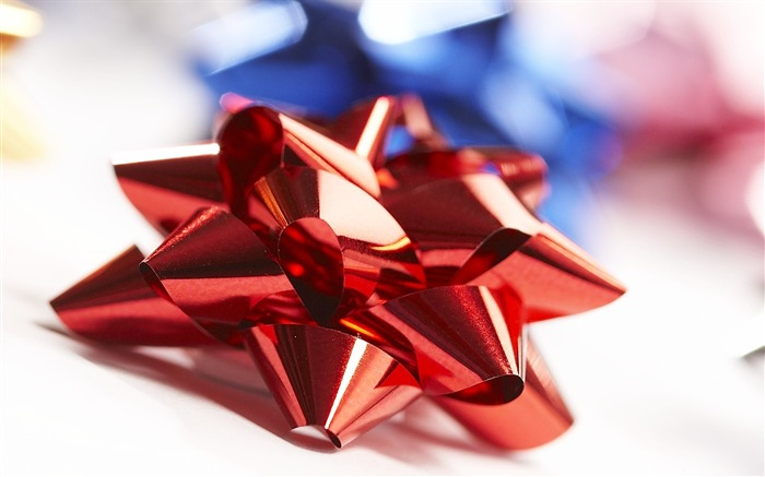 Picture- Red Christmas Bow Christmas Ribbons Wallpaper Views:8964