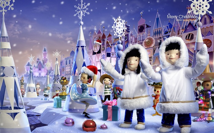 small world toys, puppets and Christmas scene wallpaper Views:0