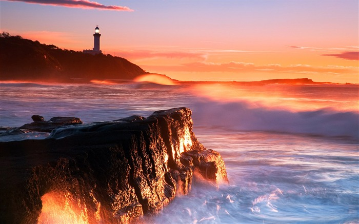 Australia sunrise wallpaper Nora Point Lighthouse Views:14077