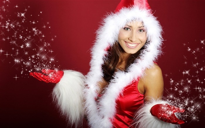 Christmas beauty - European Christmas beauty model HD wallpaper Views:20505