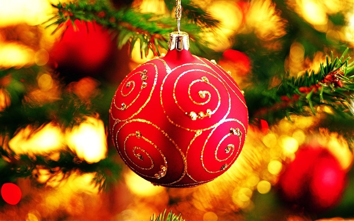 Merry Christmas - Christmas tree decoration ball ornaments Wallpaper Views:23892