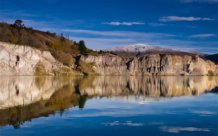 New Zealand Attractions - Shengbasensi Blue Lake wallpaper Lake Blue in St Bathans Views:4228