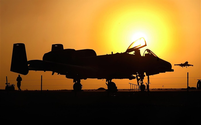 Aircraft under the sunset-Military aircraft - HD Wallpaper-fifth Series Views:5856
