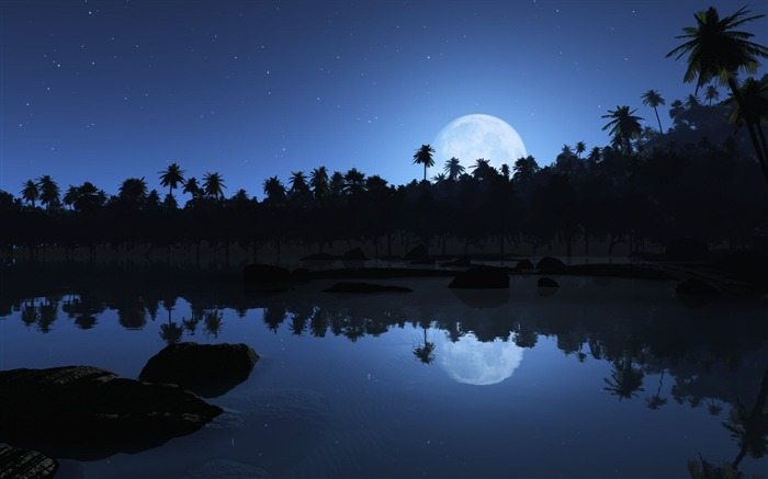 Aqua Blue Night-Nature Landscape Desktop Wallpaper Views:69374