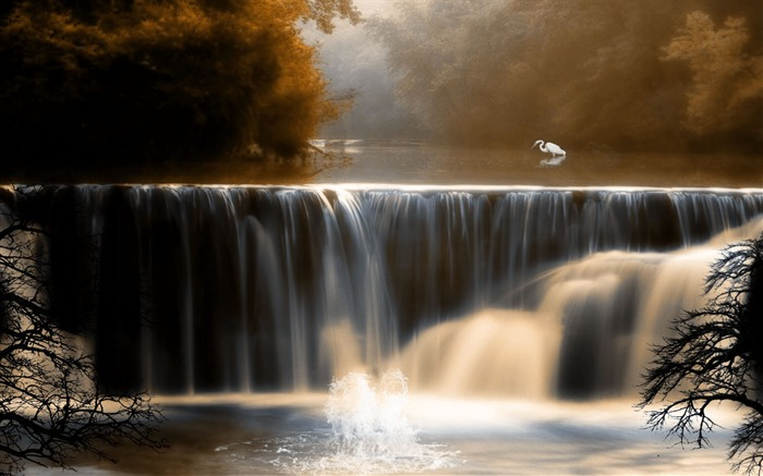 Beautiful mountain waterfall- Autumn Landscape wallpaper Views:18250