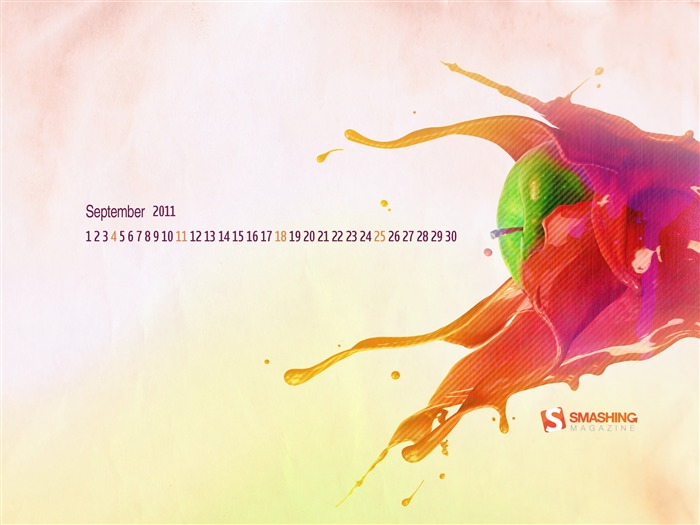 Colorful Apple-September 2011-Calendar Desktop Wallpaper Views:4887