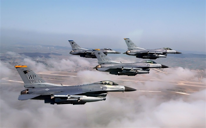 F16 Formation Fighter Falcons- military aircraft - HD Wallpaper Views:13104