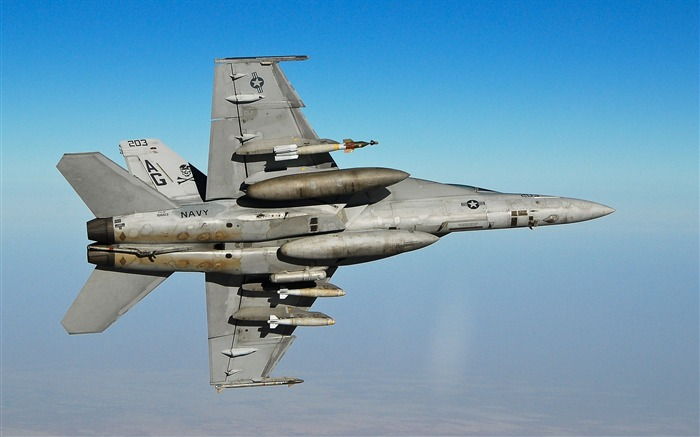 FA 18F Super Hornet Fighter- military aircraft - HD Wallpaper Views:21542