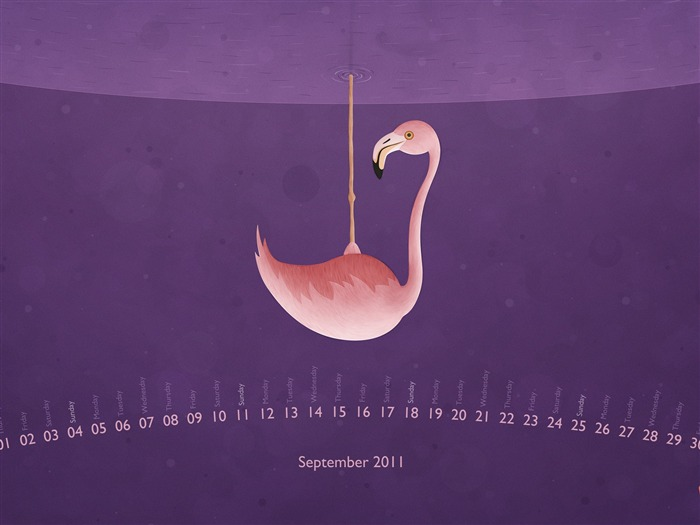 Flamingo-September 2011-Calendar Desktop Wallpaper Views:6555
