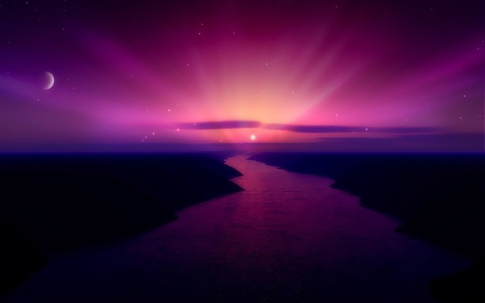 Morning Purple Sunrise-Nature Landscape Desktop Wallpaper Views:13845