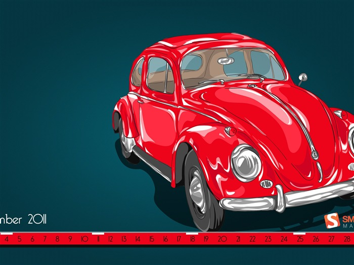 Red Beetle-September 2011-Calendar Desktop Wallpaper Views:5141
