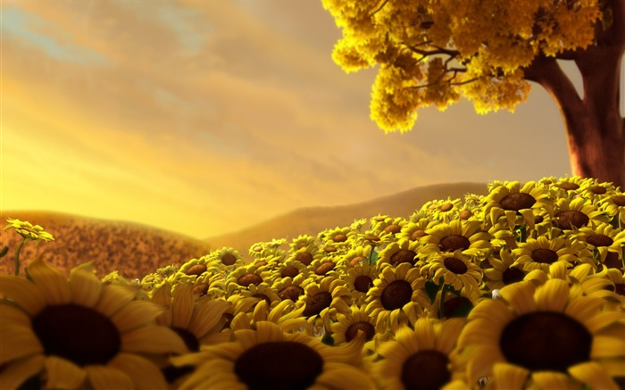 Sunflower Flower Field-Summer romance Feelings Views:7461