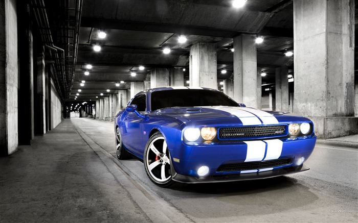 The appearance of blue and white vehicle-Dodge Challenger SRT8 392 2012 models HD wallpaper Views:8729