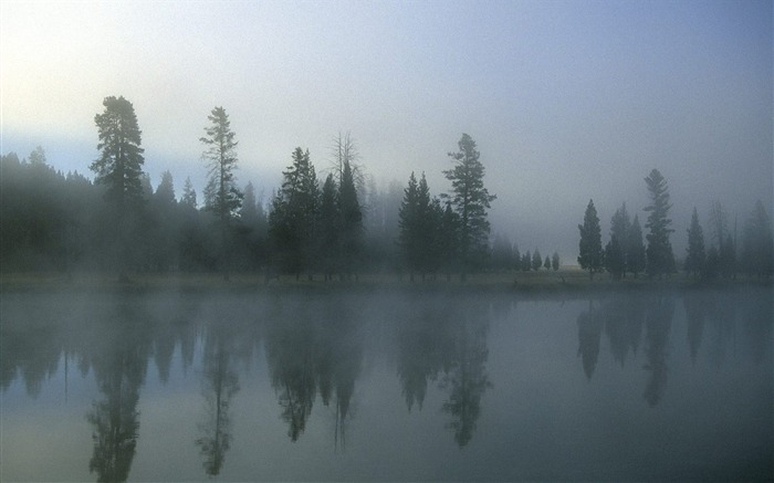 Wyoming-Yellowstone River in the morning mist wallpaper Views:3241