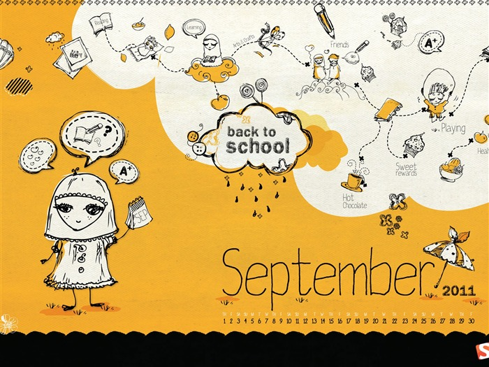 back to School-September 2011-Calendar Desktop Wallpaper Views:4958
