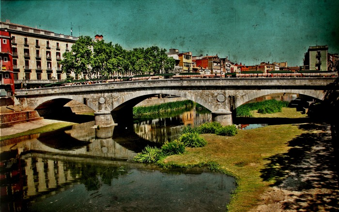 retro-style Spanish town of Girona landscape 01 Views:3140