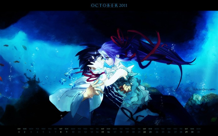 Anime Couple-October 2011 - calendar wallpaper Views:13263