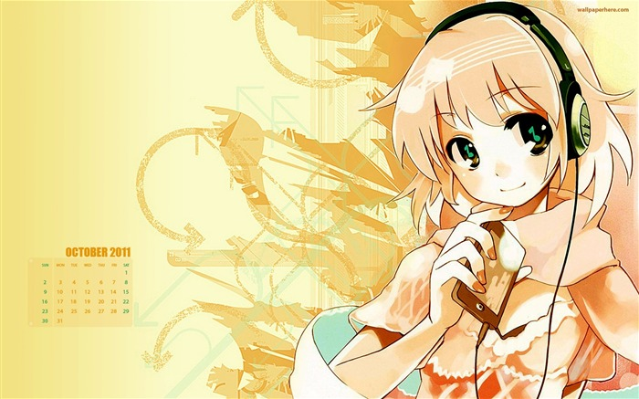 Cute Girl-October 2011 - calendar wallpaper Views:6261