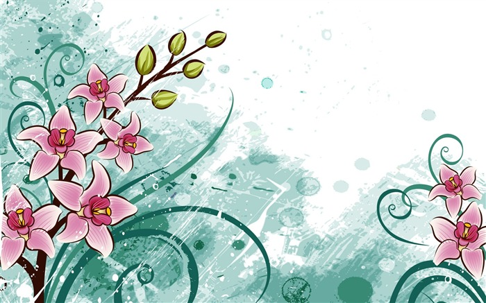 Flowers Birds-Illustration Design Desktop Wallpaper Views:8435