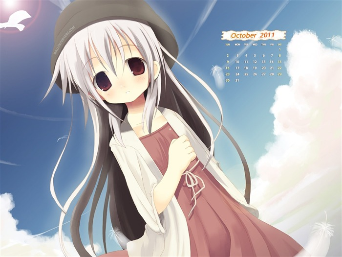 Little Anime Girl-October 2011 - calendar wallpaper Views:5208