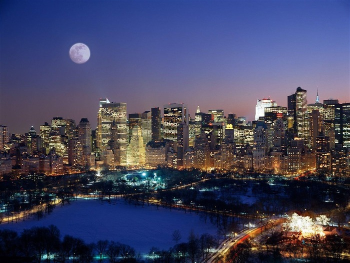 Moonrise Over Manhattan-Travel in the world - photography wallpaper Views:6334