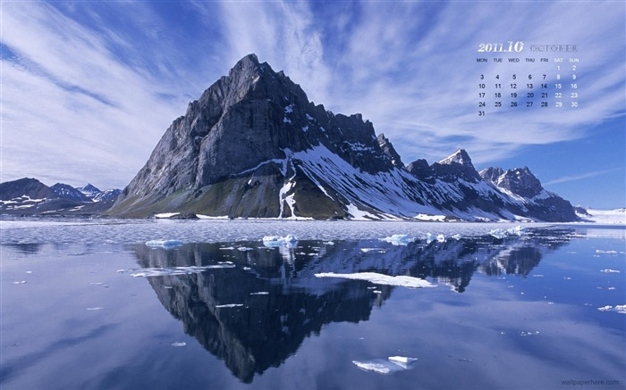 Snowy Mountain-October 2011 - calendar wallpaper Views:7111