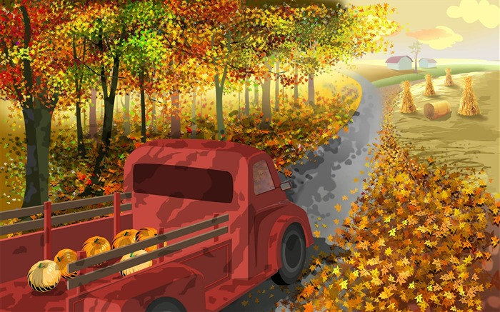 Back to the farm-Thanksgiving day wallpaper illustration design Views:5812