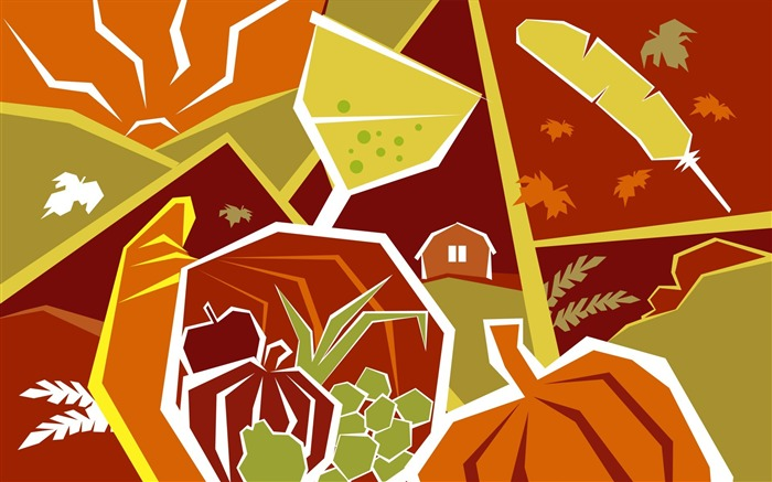 Bumper harvest-Thanksgiving day wallpaper illustration design Views:6225