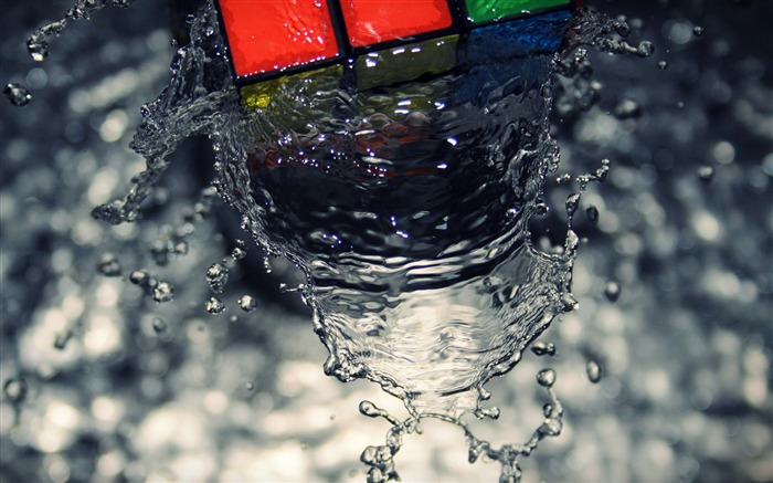 Cube wave-Drops of water droplets macro photography HD picture Views:12028
