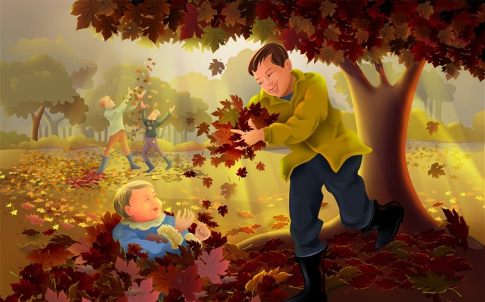Father and son together-Thanksgiving day wallpaper illustration design Views:4591