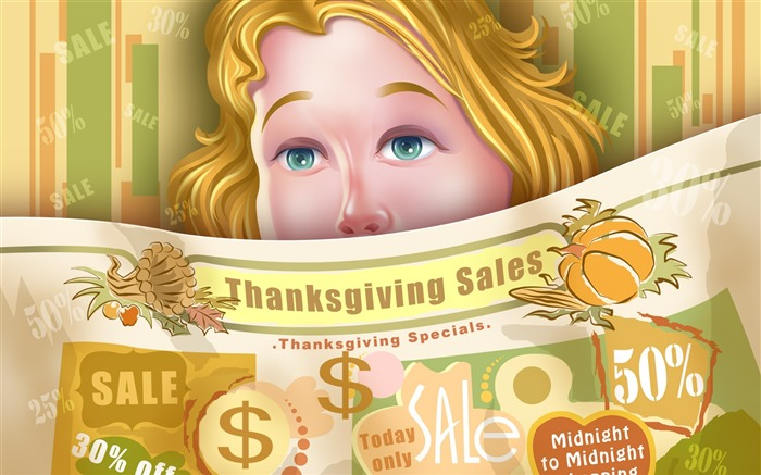 Festival promotional posters-Thanksgiving day wallpaper illustration design Views:4939