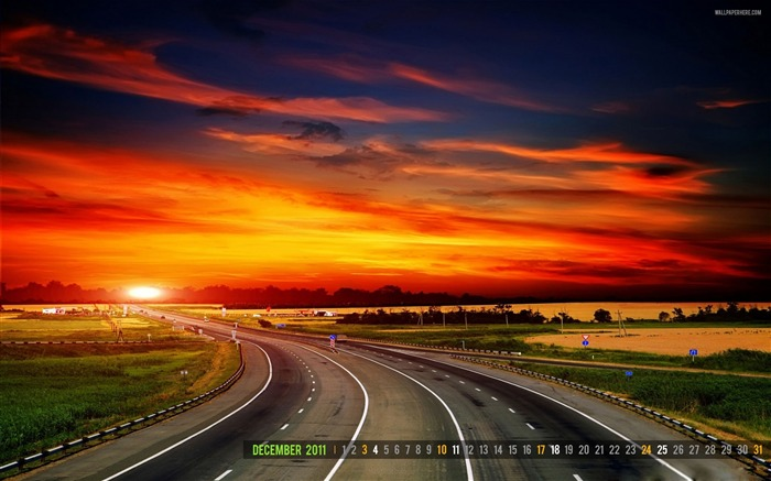 Highway Sunset-December 2011-Calendar Desktop Wallpaper Views:4962
