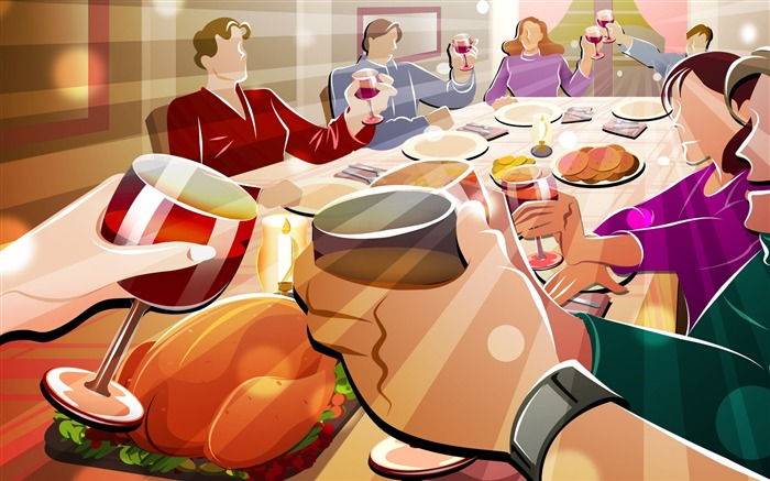 Lively dinner-Thanksgiving day wallpaper illustration design Views:5023