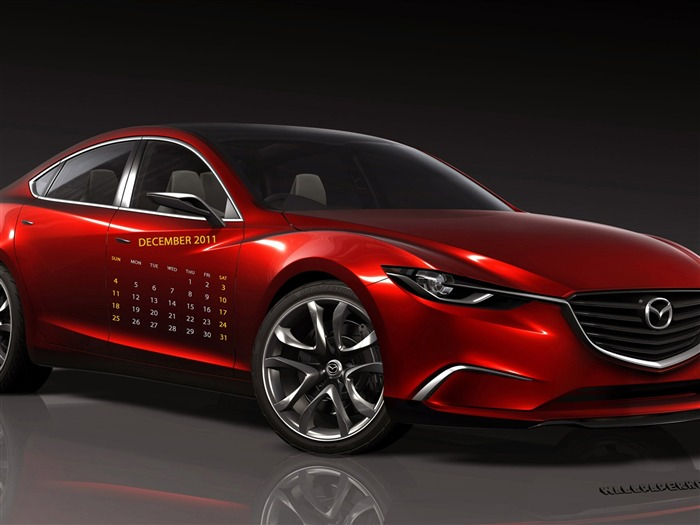 Mazda Red-December 2011-Calendar Desktop Wallpaper Views:5514