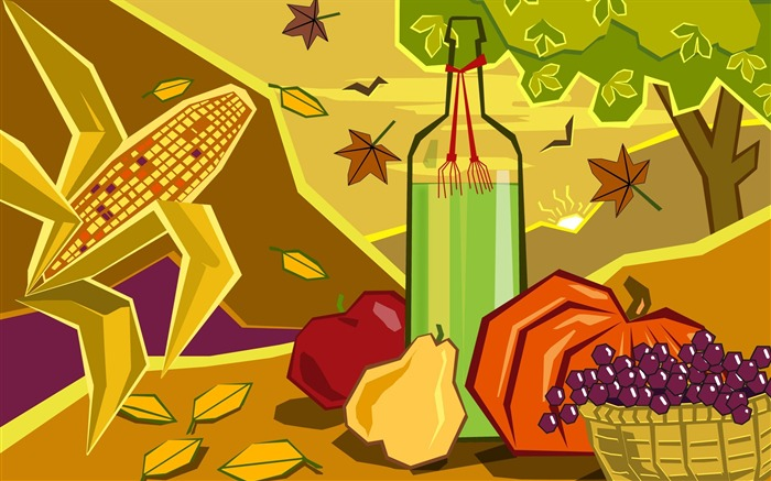Picnic-Thanksgiving day wallpaper illustration design Views:5994