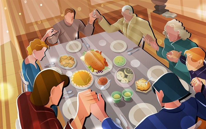 Prayer to thank God-Thanksgiving day wallpaper illustration design Views:5657