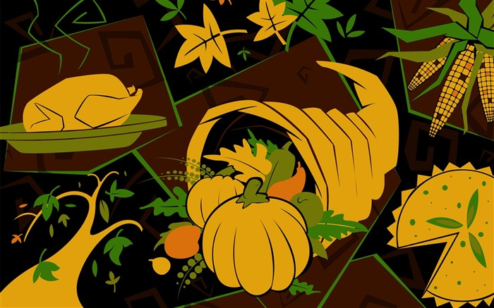Rich foods-Thanksgiving day wallpaper illustration design Views:5330