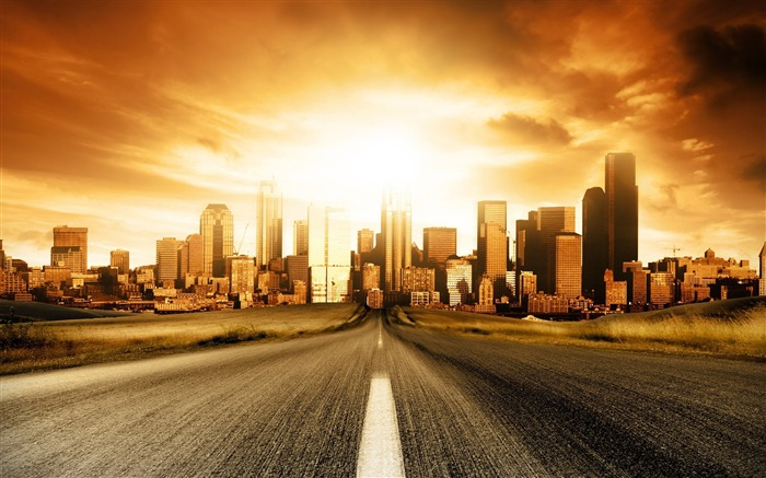 road to city-The urban landscape photography Desktop Wallpapers Views:75718