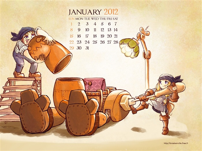 back to go to work-January 2012 calendar desktop themes wallpaper Views:5105