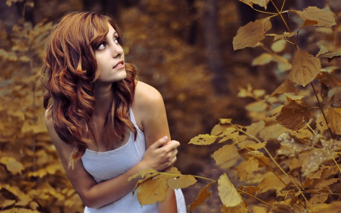 cold autumn day-Global Beauty Girl wallpaper selection Views:10164