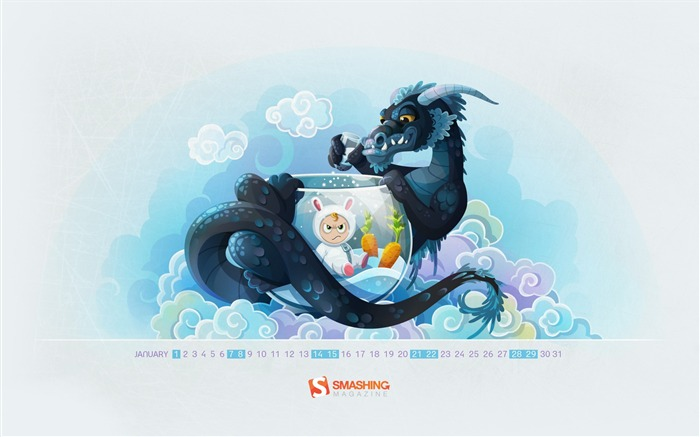 year of the dragon-January 2012 calendar desktop themes wallpaper Views:4855