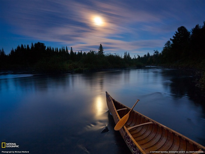 Moonlight Canoe Allagash River-Landscape photography theme wallpaper Views:12849