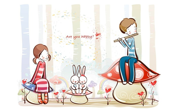 are you happy-Romantic Valentines Day Vector wallpaper album Views:5504