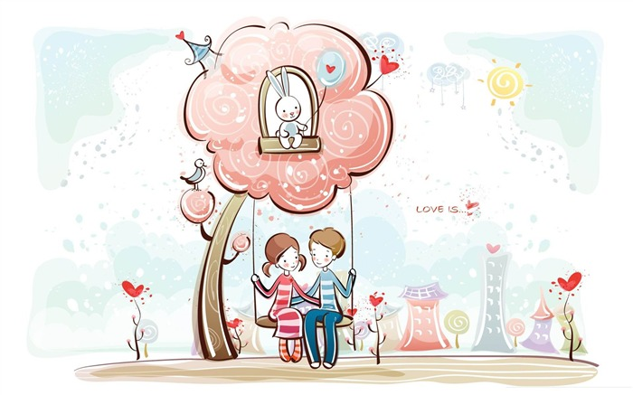 couple on swing-Romantic Valentines Day Vector wallpaper album Views:5823