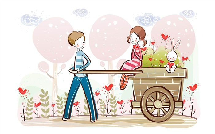 cute valentine couple valentines day illustration-Romantic Valentines Day Vector wallpaper album Views:16745